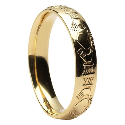 14k Yellow Gold Menu0027s Claddagh Wedding Ring 5mm   Comfort Fit